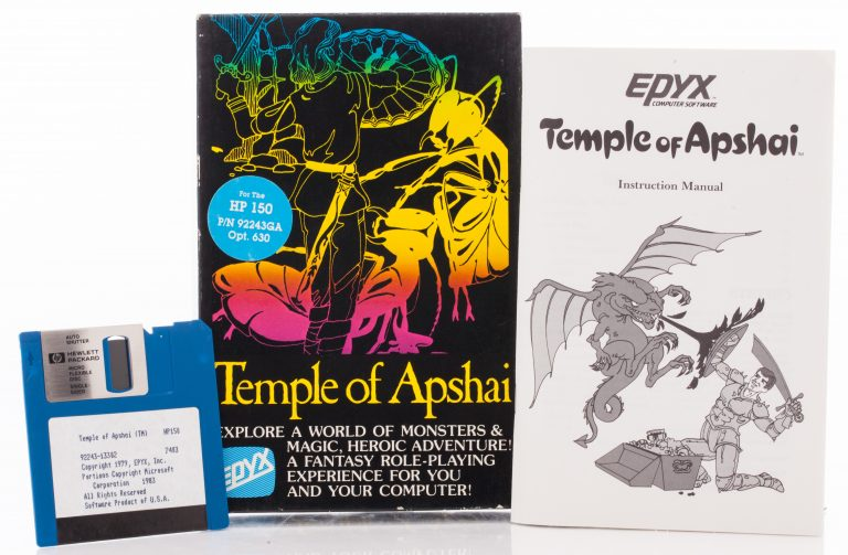 The 3.5-inch disk, box and instruction manual for Temple of Apshai video game.