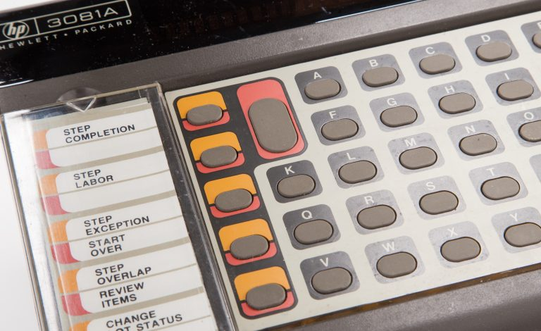 Photo of the HP 3081A industrial workstation terminal.
