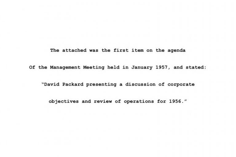 A document outlining Hewlett-Packard's first formal set of corporate objectives.