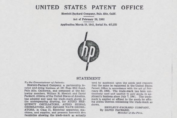 A document from the United States Patent Office outlining the trademark for HP's first logo.