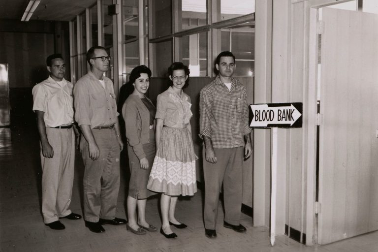 Hewlett-Packard employees lined up to donate blood in the 1960s.