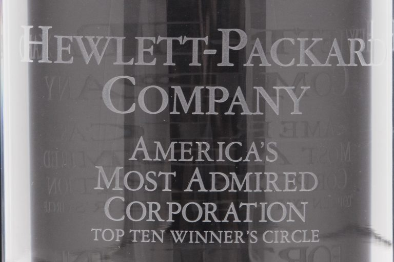 Hewlett-Packard's award from Fortune for America's Most Admired Corporation, Top Ten Winner's Circle.