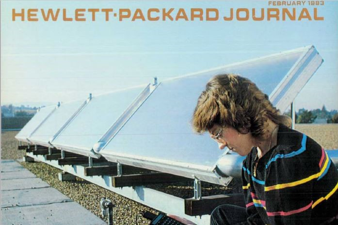 Vicky Sweetser featured on the cover of the Hewlett-Packard Journal with the 3421A in February 1983.