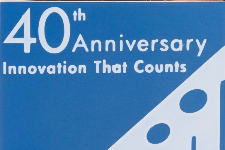 A pin celebrating the 40th anniversary of HP Labs. Reads 40th Anniversary Innovation That Counts HP Labs 1966-2006.