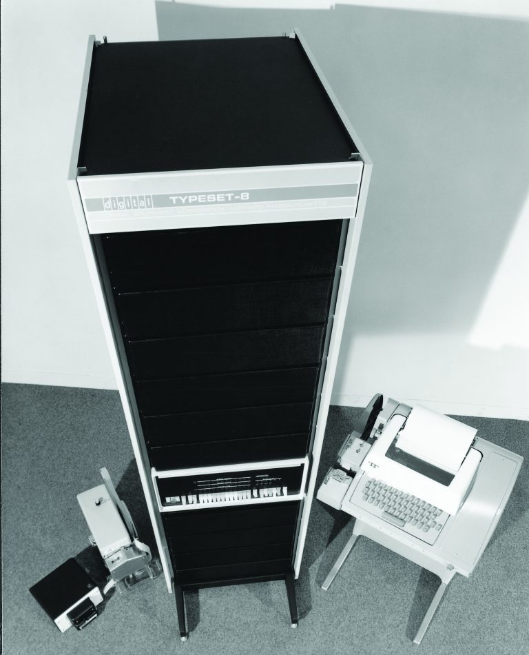 A photo of Digital Equipment Corporation's TYPESET-8, a turnkey computer system from 1968.