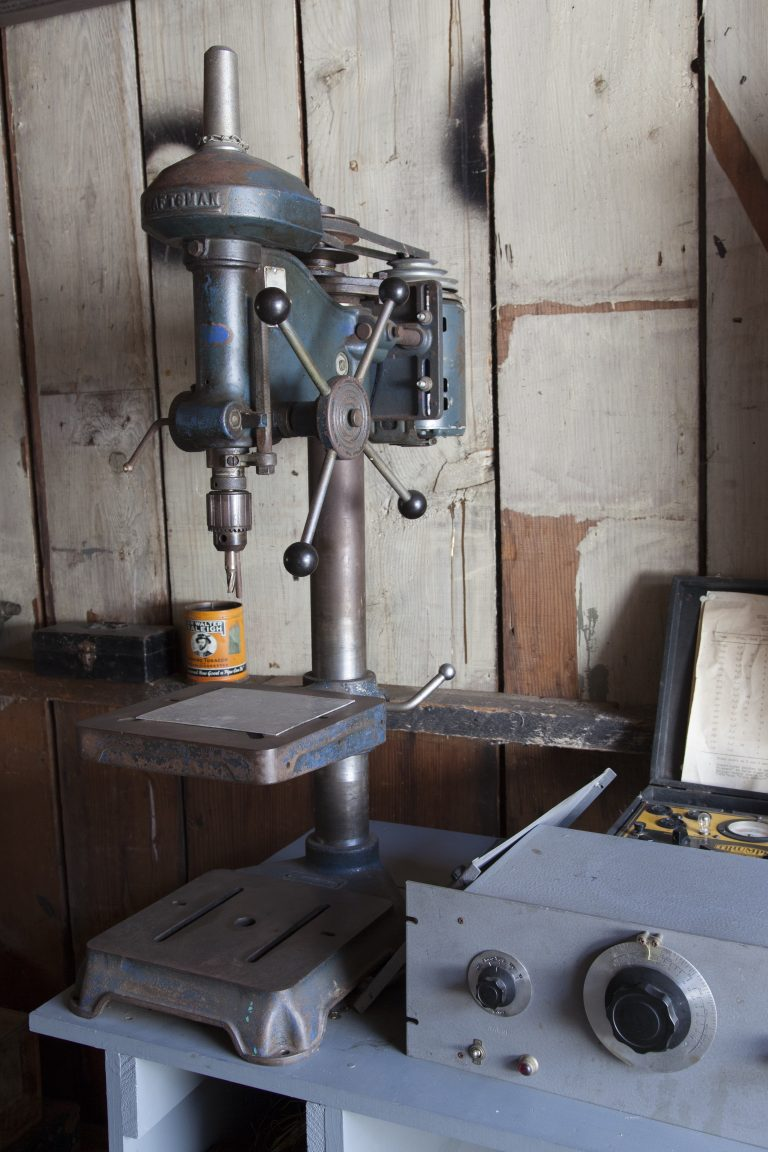 Sears Craftsman drill press in the restored Hewlett-Packard garage.