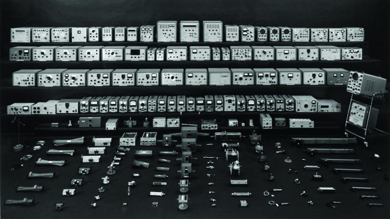 A photo of Hewlett-Packard's complete 1959 product line of 380 test and measurement instruments and accessories.