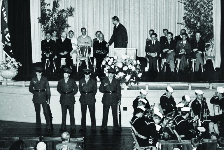 Dave Packard accepting the Army-Navy E Award on November 20, 1943.