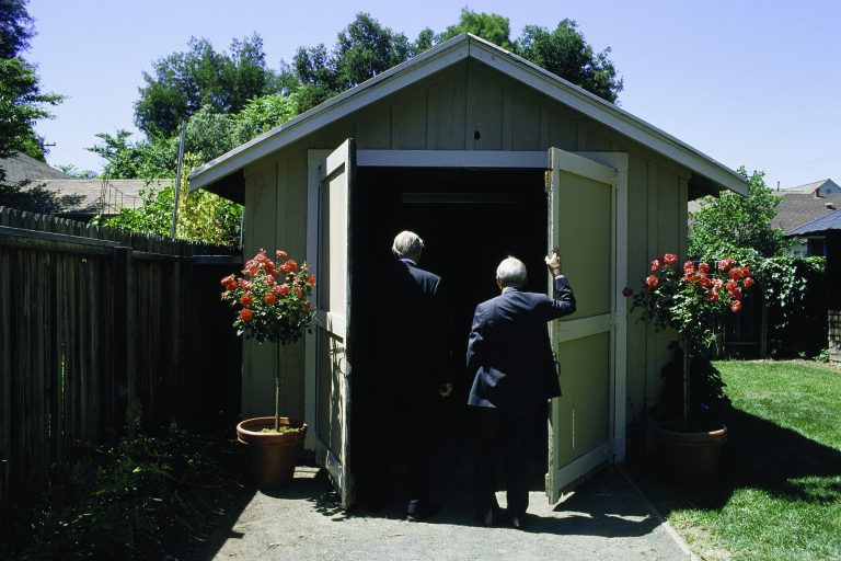 Bill Hewlett and Dave Packard entering the garage on Addison Avenue in 1989.
