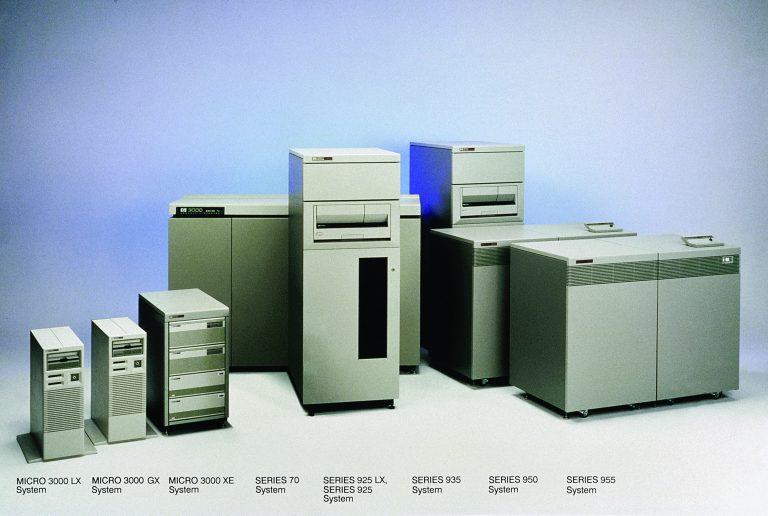 HP 3000 line (L to R): Micro3000 LX, Micro3000 GX, Micro3000 XE, Series 70, Series 925 LX, Series 935, Series 950, Series 955.