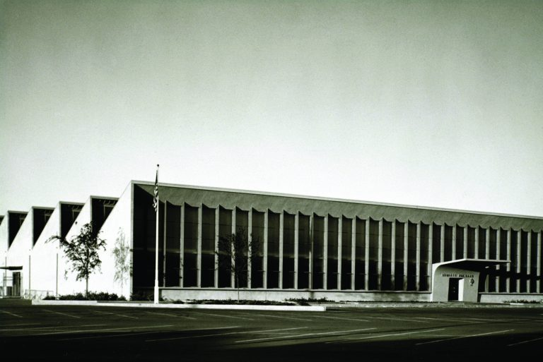 Exterior view of HP's first administration building at 395 Page Mill Road in Palo Alto (taken in 1954).