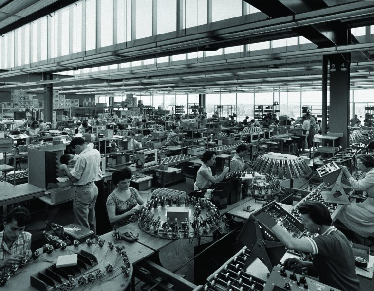 A wide shot of HP employees working on the production line at Stanford Research Park in Palo Alto.