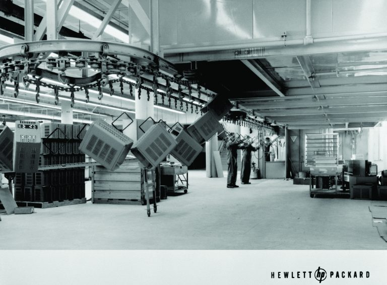 Photo of the paint conveyer used to help dry freshly painted instruments in 1957.