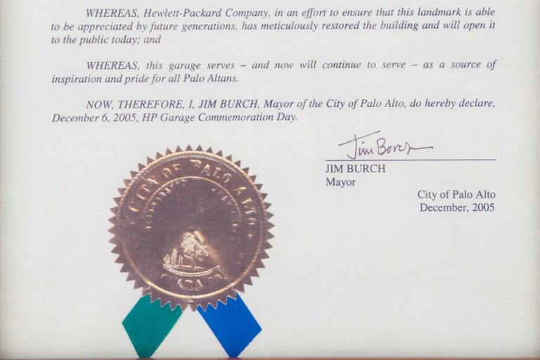 Framed proclamation declaring December 6, 2005 Hewlett Packard Garage Commemoration Day.