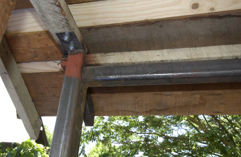Close up photo of the steel substructure installed during the garage restoration on Addison Avenue.