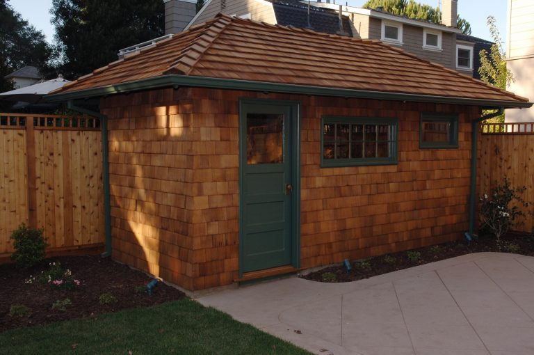 Photo of the restored shed where Bill Hewlett lived on the Addison Avenue property.