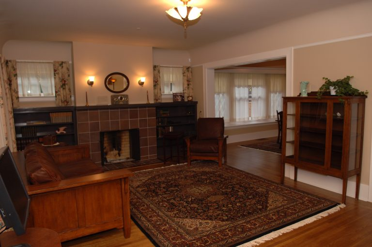 A photo of the living room in the Packards' home at 367 Addison Avenue following the site's renovation.