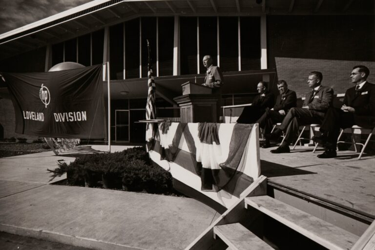 Dave Packard speaking at the opening of Hewlett-Packard's Loveland, Colorado, plant.