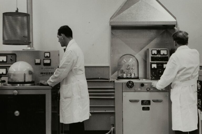 Two researchers working in a lab at Hewlett-Packard's Page Mill Road facility.