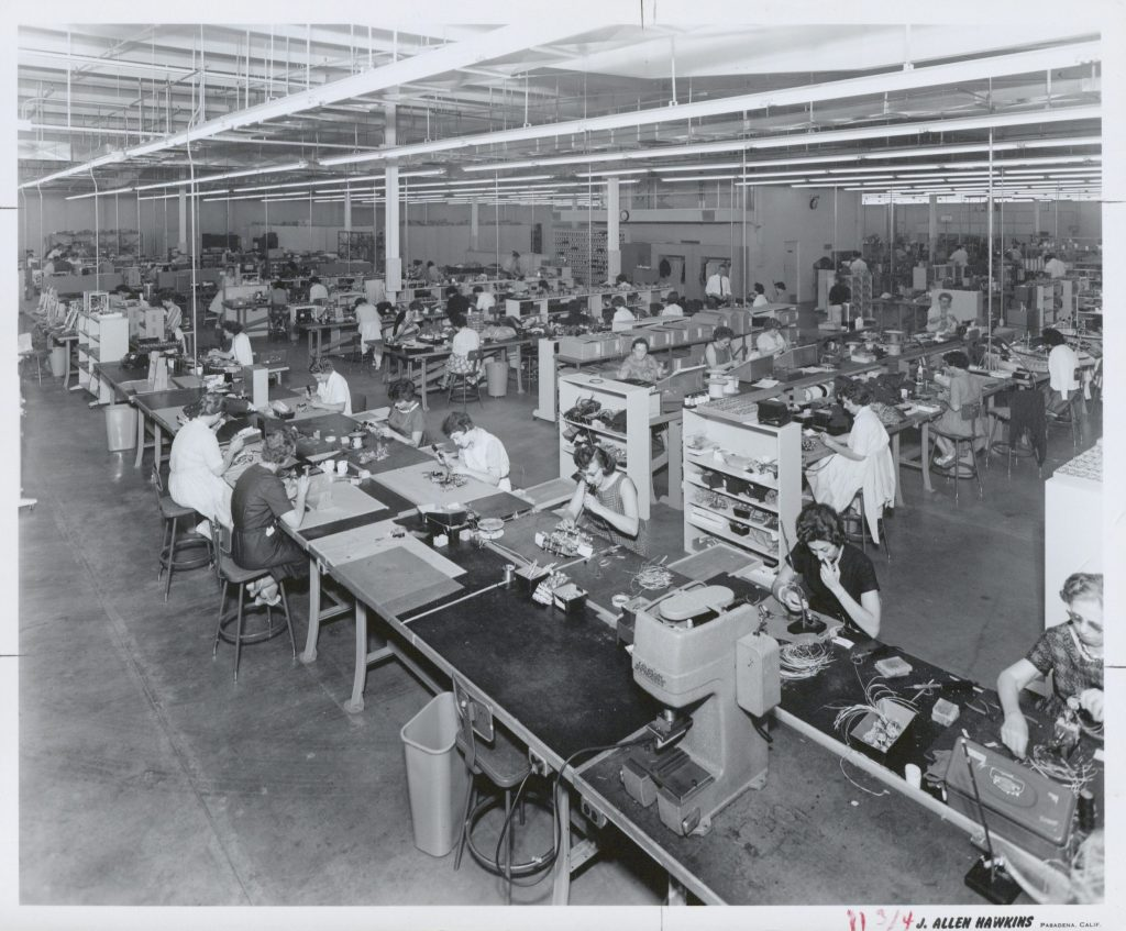 Photo of the production line at HP's Moseley division.