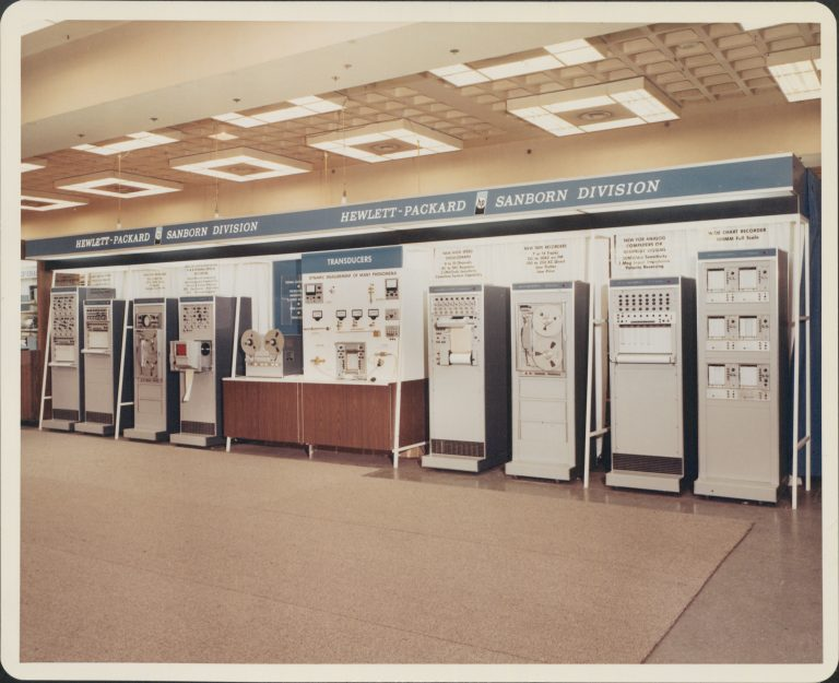 A display showcasing the instruments from the Sanborn Division of Hewlett-Packard in 1967.