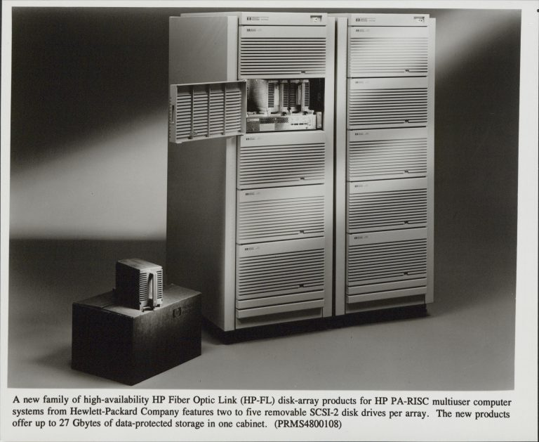 The Hewlett-Packard Fiber Optic Link disk array product with one SCSI-2 disk drive removed.