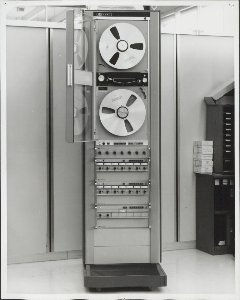 Photo of the HP 3950, Hewlett-Packard's first magnetic tape recording system.