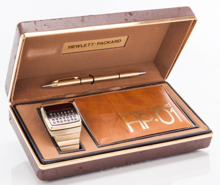 The HP 01 portable smartwatch/calculator from 1977 in its case with manual and stylus.