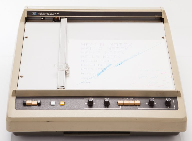 Top view of the HP 9862A plotter, one of the company's earliest personal printers.