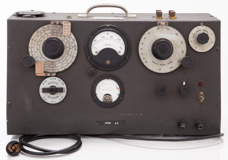 Photo of the Q-Meter used by a Rutgers University professor to study Nuclear Magnetic Resonance.