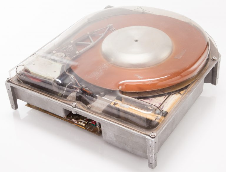 Photo of the top and two sides of the HP 7910 disk drive.