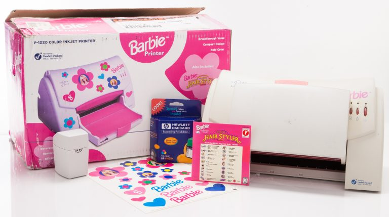 Barbie-branded HP Apollo P1220 color Inkjet printer with box and accessories.