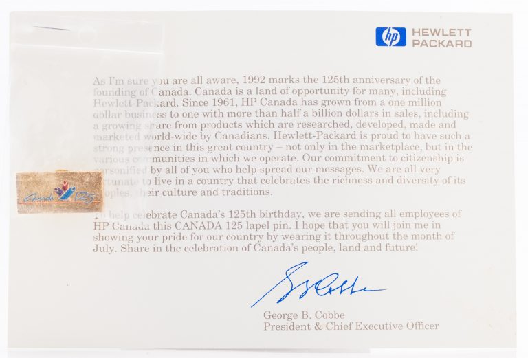 Letter from HP executive George Cobbe about Canada's 125th birthday with attached pin.