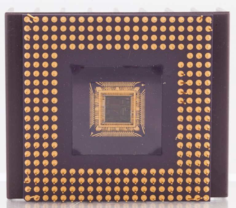 Close-up view of a chip package featuring Hewlett-Packard's reduced instruction set computing (RISC) architecture.