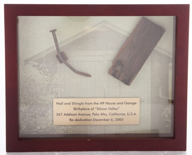 Framed nail and shingle from the HP House and Garage on Addison Avenue with plaque.