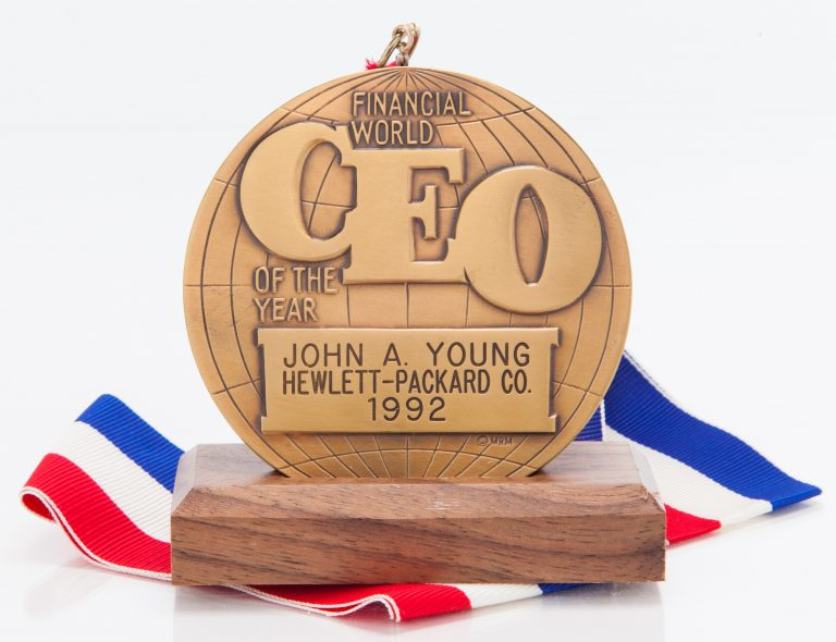 John Young's CEO of the Year award from Financial World magazine, awarded to him in 1992.