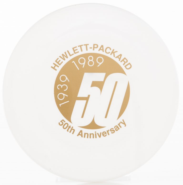 A frisbee celebrating Hewlett-Packard's 50th anniversary.