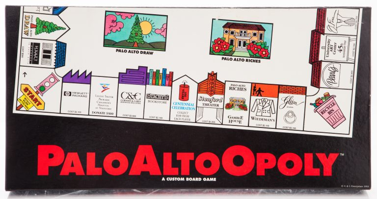 Copy of the box for the PaloAltoOpoly board game from 1993.