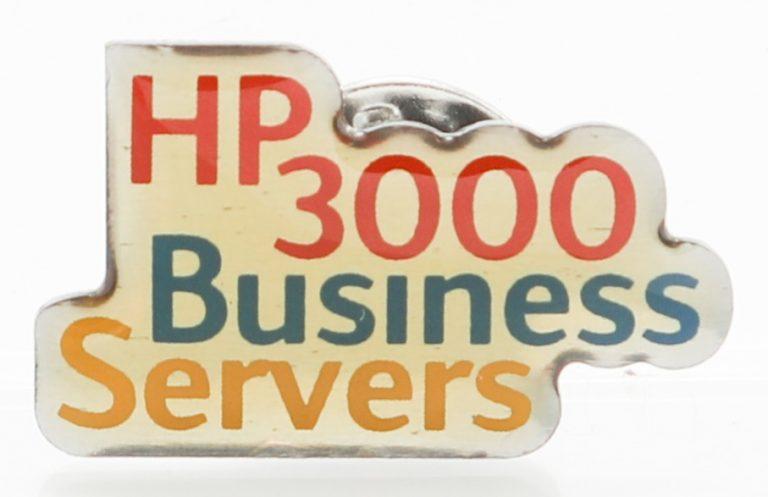 A pin celebrating HP 3000 Business Servers.