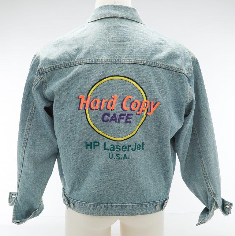 Back of the LaserJet branded jacket featuring a Hard Copy Café logo with HP LaserJet USA printed underneath.