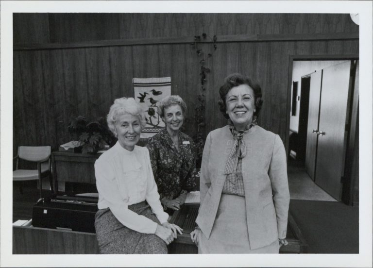 Photo of Madie Schneider (left), Margaret Paull (right) & Leah Klick (center), secretaries who worked with Bill and Dave.