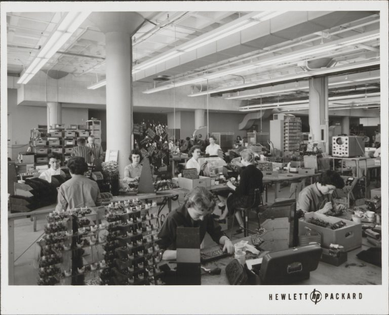 A photo of women employees in the Pre-Fab section of Building 1 at Palo Alto.