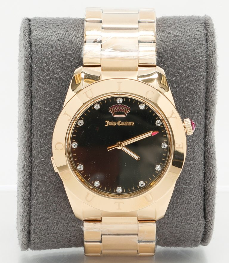 Gold smartwatch with black face and jeweled hour markers created in collaboration between HP and Juicy Couture.