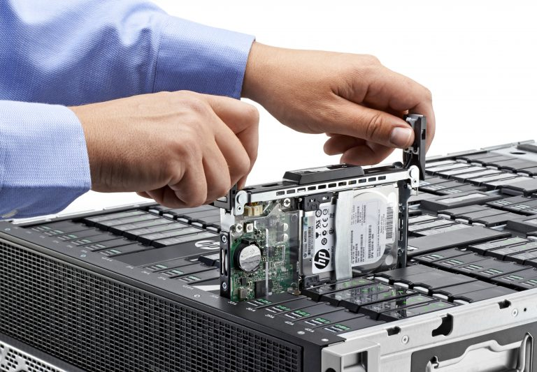 HP Moonshot 1500 server rack with one cartridge pulled out for display.