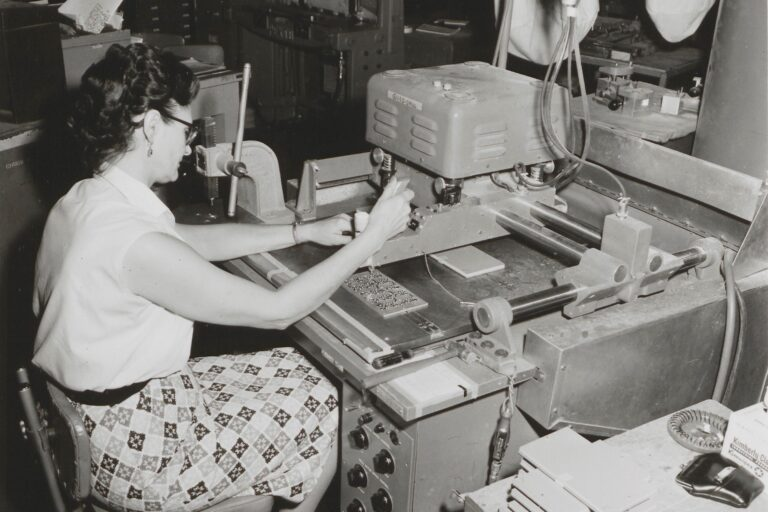 A woman working in the Stanford plant in the late 1950s.