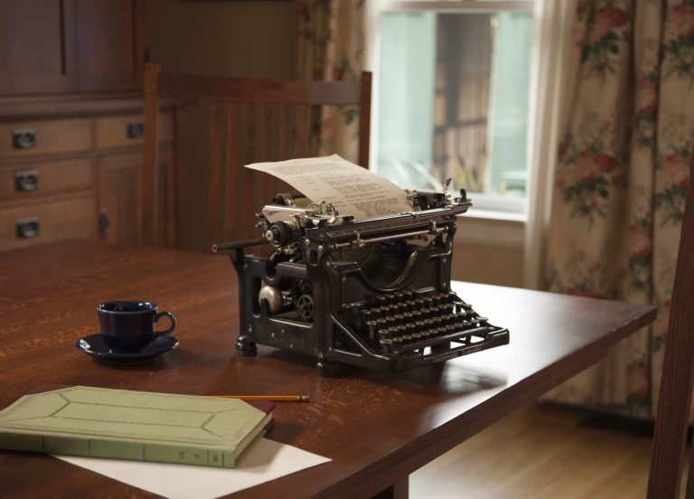 Underwood typewriter used to recreate Addison Avenue house's dining room, which Lucile Packard used as an office.
