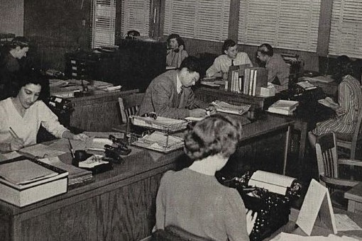 The cover of Watt's Current from April 5, 1946 showcasing women working in HP's offices.