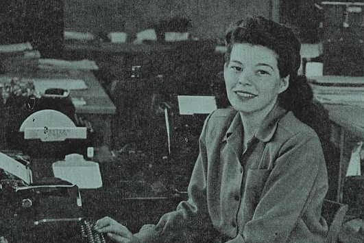 Cover of Watt's Current from April 26, 1946 featuring Helen Culver on the cover seated at a typewriter.