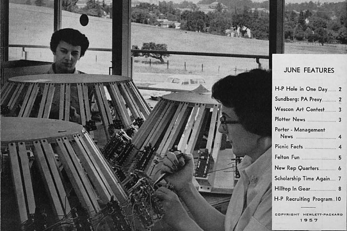 Cover of Watt's Current from June 1957 featuring Barbara Brown and June Wessel working at Stanford Unit no. 2.