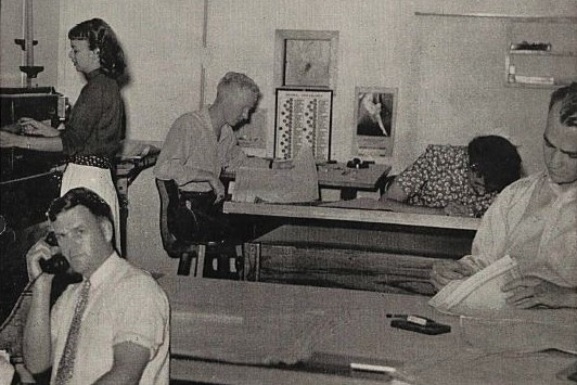 Copy of Watt's Current from August 16, 1946 with Marjorie Kidd, Barbara Ames and others working in the Drafting Department.